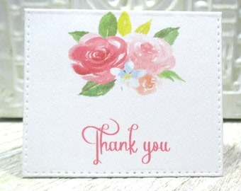 Pretty pink floral mini thank you notes - Set of 20 - Trending - Folded - Embossed edge - Order enclosure card - Business - 2 X 2.25 inches