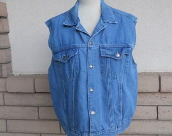 Vintage Denim Vest Blue Jean Vest Unisex Size M-L