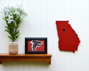 """Atlanta Falcons """"State Heart"""" wall art, handcrafted wood with official team colors"""