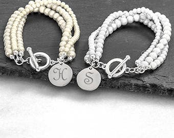 Personalized Initial Bridesmaid Bracelet