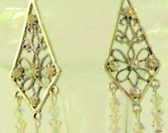 Bridal Earrings with Swarovski Crystals and Sterling Silver