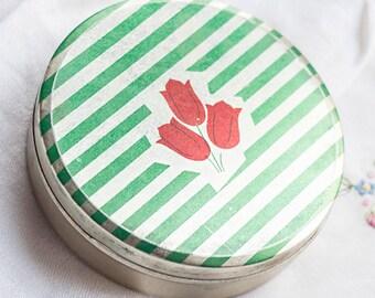 Green tin box_round tin box_green striped pattern_red flowers_two pieces box_vintage storage_retro home decor_craft room storage