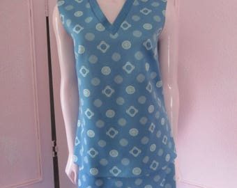 1960s Blue and White Two-Piece Maxi Dress, Size L