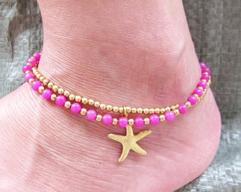Pink Quartz Ankle Bracelet - Double Strands Pink Quartz Stone Brass Bead added Starfish Charm