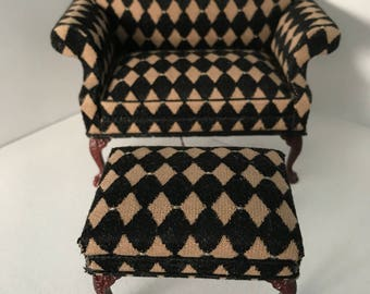 """1"""" or 1/12 Scale Miniature Oversized Chair and Ottoman Set"""