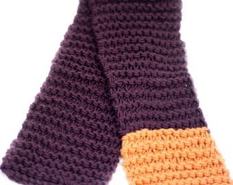 Two-Tone Garter Knit Scarf