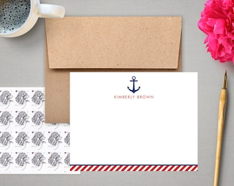 Personalized Stationery - Flat Notes with Anchor - Personalized Stationary - Nautical