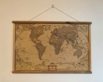 Map wall hanging etsy map of the world vintage style wall hanging wall decor print gumiabroncs Images