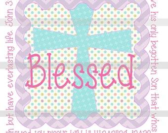 Blessed Cross IRON ON TRANSFER- Easter Christian John 3:16 - Tshirt - Bodysuit - Tote Bags