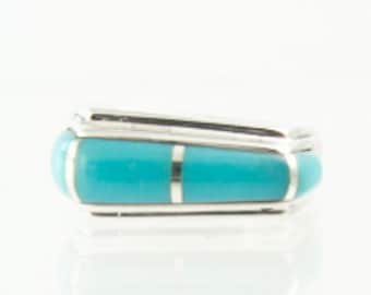 925 Silver Turquoise Asymmetrical Band Ring Size 6.75