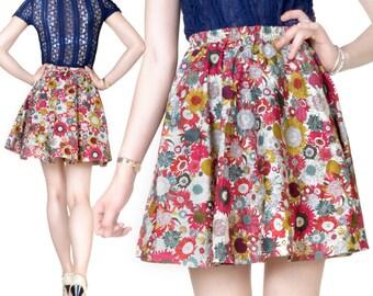Skirt short cotton print top (M6)