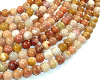 Petrified Wood, 8mm (8.5mm) Round Beads, 15.5 Inch, Full strand, Approx 47 beads, Hole 1mm, A quality (355054008)