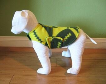 XS Fleece Dog Coat, Extra Small, Green and Gold Yellow Football Print Fleece with Green Fleece Lining