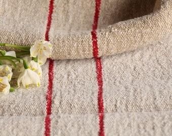 F 272: Grain Sack antique CHERRY RED  pillow benchcushion, 43.31 long,wedding, girl room,grain sack fabric, old linen fabric, vintage
