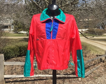 80s Columbia colorblock bright zip down unlined Red Teal Blue windbreaker Jacket size L lightweight colorful zip pockets vtg vintage