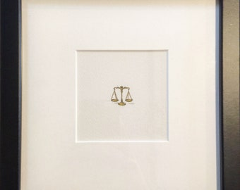FRAMED Miniature Painting of The Scales of Justice by Brooke Rothshank