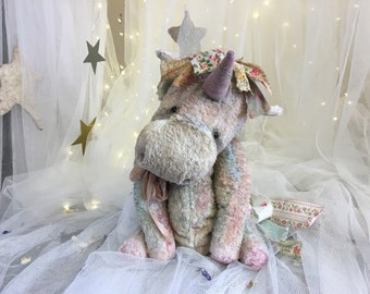 Dolly the OOAK unique artist teddy bear vintage collectable unicorn doll
