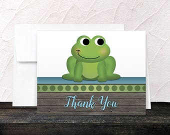 Frog Thank You Cards - Rustic Wood Cute Froggy Green Blue Brown - Blank Inside - Printed Cards