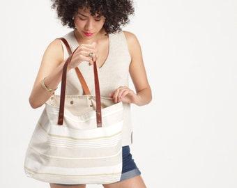 Stripes canvas tote, soft canvas bag, women tote bag, Leather handles bag, canvas shoulder bag, summer tote bag, beach tote bag, lagut Shop