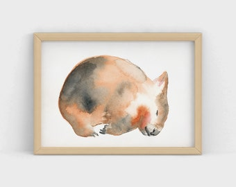 Sleeping Wombat Watercolour Print