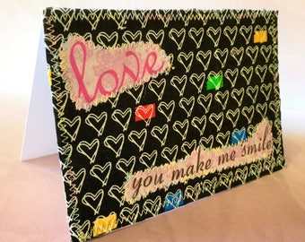 Love 4x6 fabric blank note card suitable for framing,  card for wife, card for husband, card for wedding, card for anniversary, wall art
