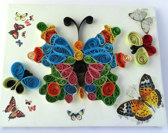 Multicolour quilled butterflies on canvas - home decor - Quilled art - painted canvas - quilling on canvas - butterfly lovers gift