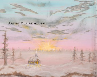 Winter Worship -  Original Acrylic on Canvas Painting by Claire Allen LRPS