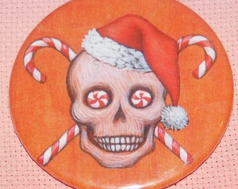CLEARANCE, Seconds stock, Santa Skull 58mm Needle Minder, Licensed, Cross Stitch Keeper, Eya Floyd, Fridge Magnet, Button Magnet, Pin Holder