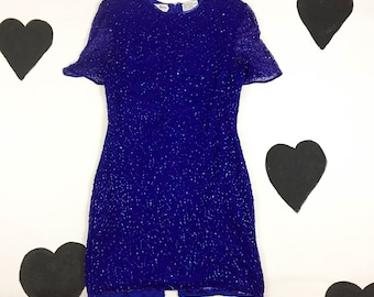 80's blue silk beaded squiggle dress 1980's sparkly sequin party dress / iridescent / jewel tone / fitted sheath / sheer sleeves / size L