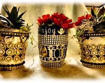 Bejeweled Mug Planter