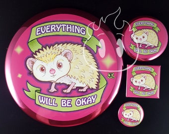 Hedgehog inspirational saying pinback button badge  magnet giant button