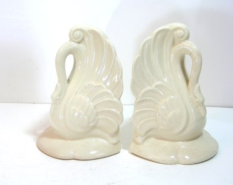 Vintage Pottery Swan Bookends, Johnson China