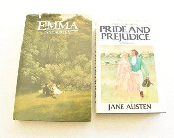 Set of Vintage Hardcover Jane Austen Books Pride and Prejudice and Emma Illustrated 1982