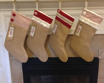 Personalized Christmas Stockings - Set of 2, Burlap Personalized Christmas Stockings