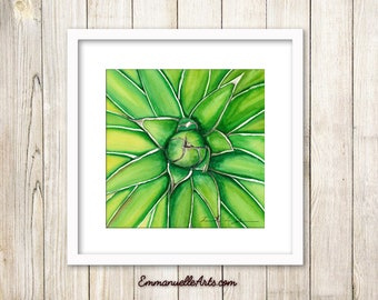 Green Watercolor Cactus PRINT, Cactus Art, Desert Art, Southwest Painting, Succulent Art, Wall Art, Home Decor