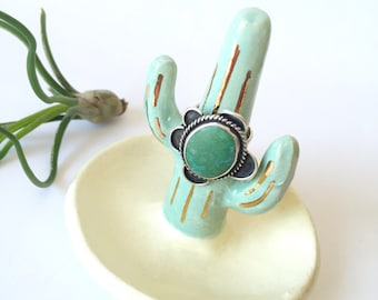Turquoise southwestern style ceramic cactus ring tree, ring cone, cacti ring holder, ring dish, jewelry storage, ceramic home decor