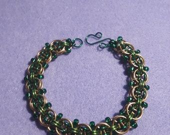 Custom Handmade Beaded Helm Chainmaille Bracelet: Design by Emily Fiks