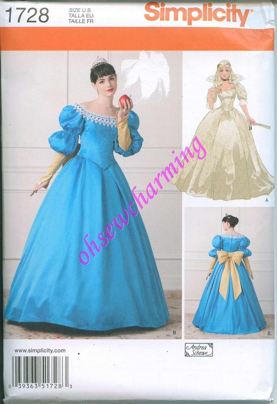 Simplicity 1728 NEW Ball Gown Princess Costume Pattern Snow White ...