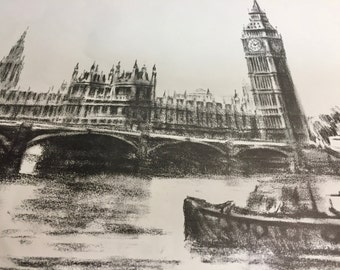 Westminster Bridge Vintage London Print   Gordon Sommers Signed   London Art   Vintage London   London Print   Vintage Travel Charcoal Print