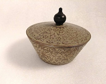 Vintage Painted Brass Trinket Bowl with Lid with Wooden Handle