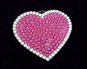 Hot Pink Crystal Heart Belt Buckle