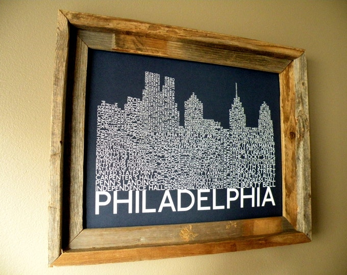 Philadelphia Skyline Word Art Print (Dark Blue) - Unframed
