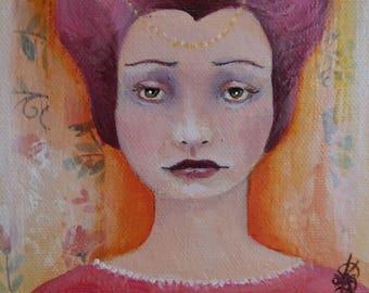 Original Mixed Media Fantasy Elf Fairy Girl Painting