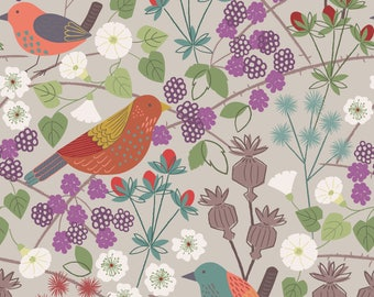 Woodland Fabric, Bird Fabric, Hedgerow On Natural, THE HEDGEROW, Lewis and Irene, Quilting, Cotton Quilt Fabric By the Yard, Nursery Decor