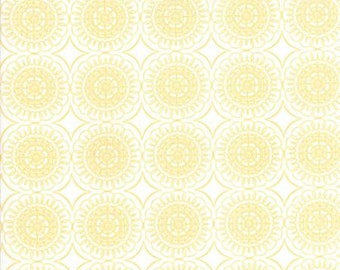 Fabric by the Yard -- Pepper Flax Medallion in Gold by Corey Yoder for Moda