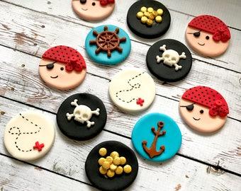 Edible fondant Pirate themed cupcake toppers - one Dozen