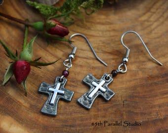Garnet Cross Earrings, Cross Earrings, Christian Jewelry, Religious Jewelry, Cross Jewelry, January Birthstone, Garnet Earrings, Birthstone