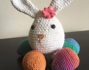 Easter Bunny/egg + color eggs - handmade crochet