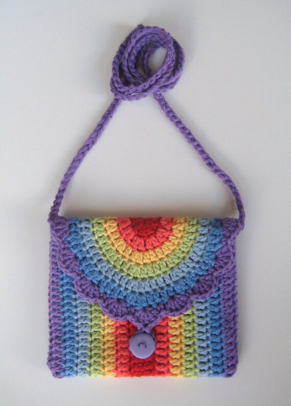 Crochet Bag Pattern Rainbow Purse Bag Instant Download Pdf Girl