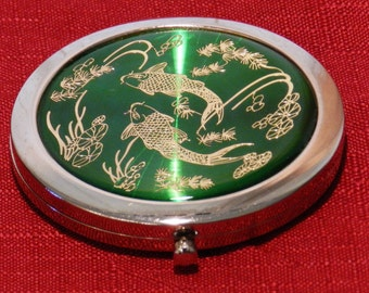 Vintage Asian Motif Pocket Double Mirror One Close-up Green Enamel with Gold Filigree       00636